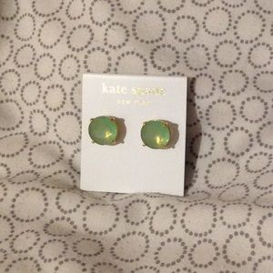 NWT Kate Spade mint and gold round earrings